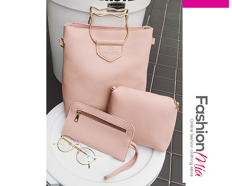 Three Pieces Basic Pu Shoulder Bags