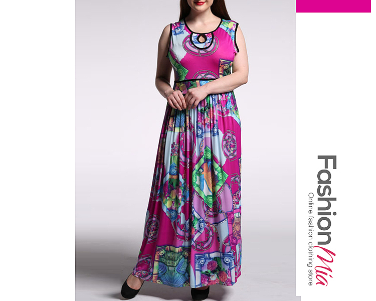 7ff3693e6bb Swing Contrast Trim Keyhole Printed Plus Size Maxi Dress - 30.95 USD