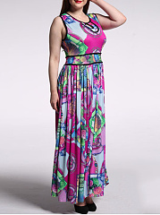 Swing Contrast Trim  Keyhole  Printed Plus Size Maxi Dress