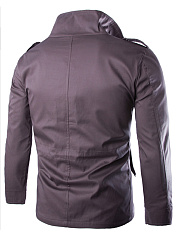 Fold-Over Collar  Drawstring Flap Pocket  Plain Men Jackets