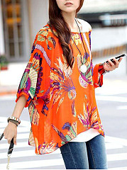 Batwing Sleeve One Shoulder  See-Through  Printed  Tunic