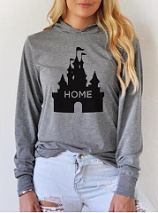 Autumn Spring  Cotton Blend  Printed  Long Sleeve Hoodies