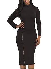 Turtleneck  Zips  Plain Midi Bodycon Dress