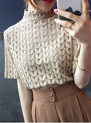 Spring Summer  Lace Polyester  Women  High Neck  Plain  Short Sleeve Blouses
