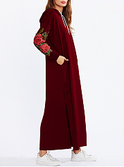 Hooded  Drawstring  Applique Maxi Dress