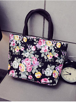 Bohemian Floral Printed Canvas Hand Bag For Women