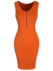 Fitted Round Neck Zips Solid Bodycon Dress