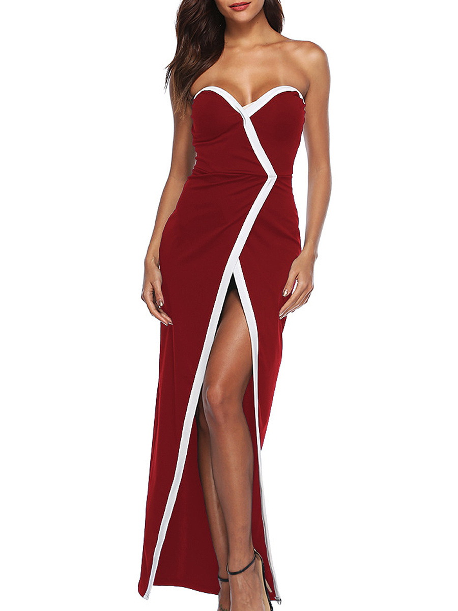 Strapless  High Slit Patchwork  Contrast Piping  Plain Evening Dress