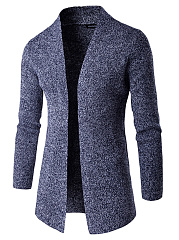 Collarless  Plain Men'S Cardigan