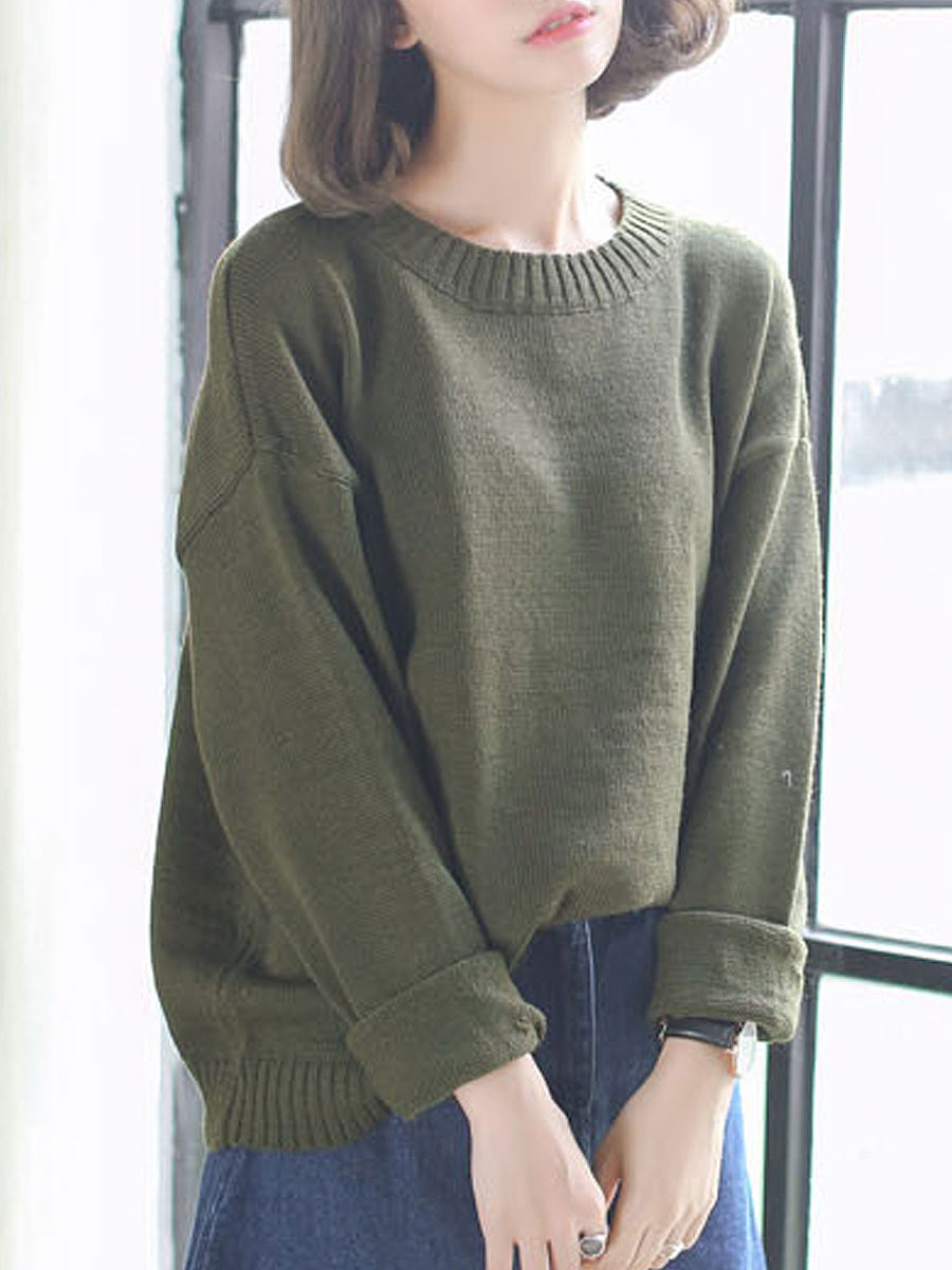 Round Neck  Plain  Roll-Up Sleeve Pullover