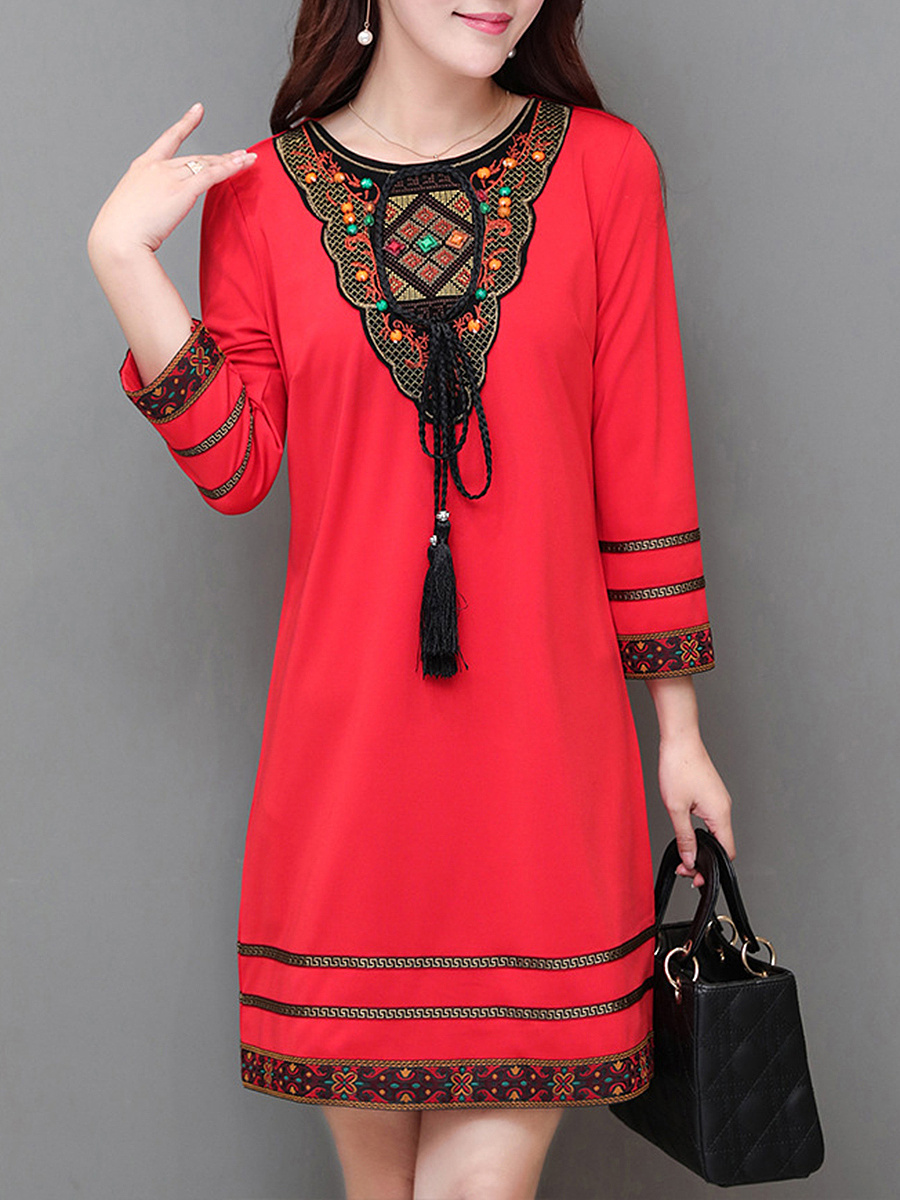 Round Neck Tassel Tribal Pattern Mini Bodycon Dress