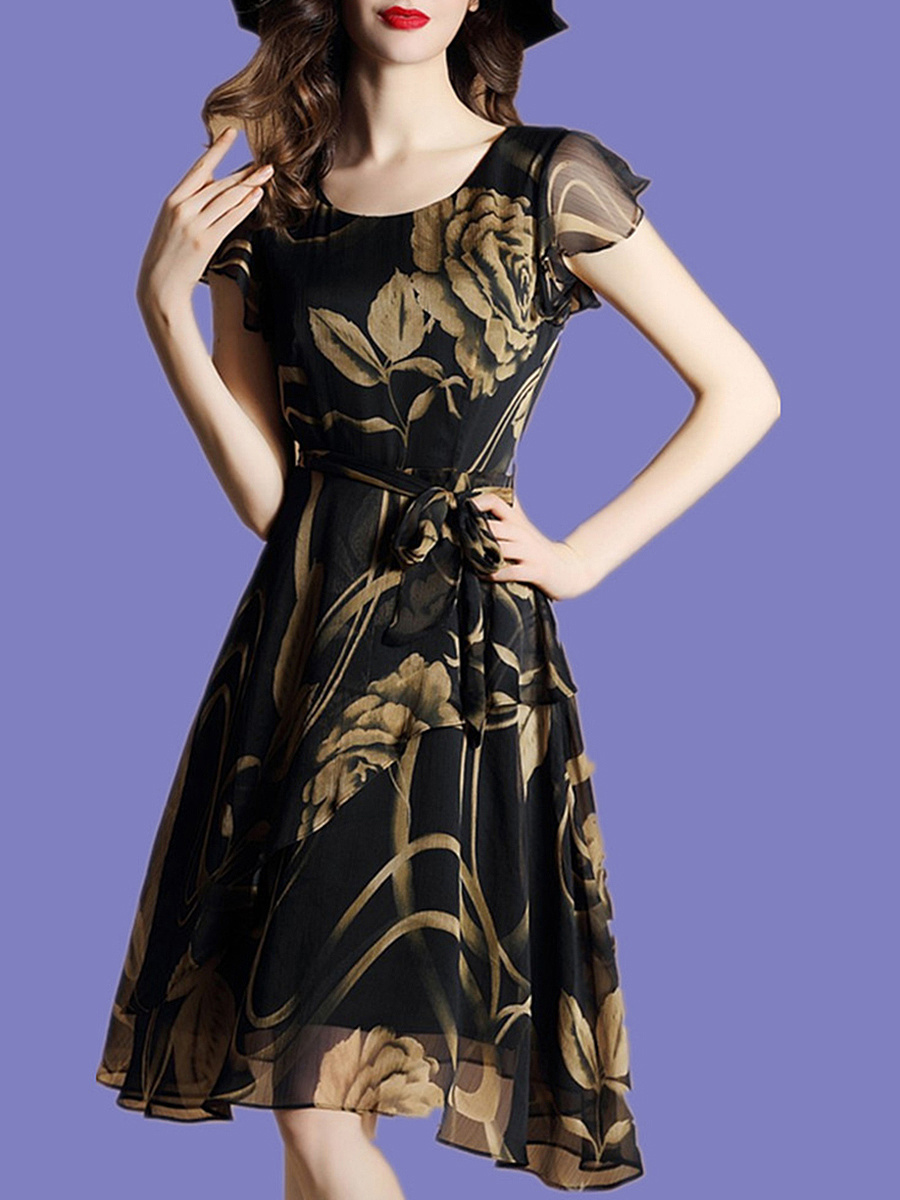 Graceful Round Neck Printed Chiffon Skater Dress