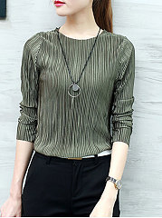 Autumn Spring  Polyester  Women  Round Neck  Plain Long Sleeve T-Shirts