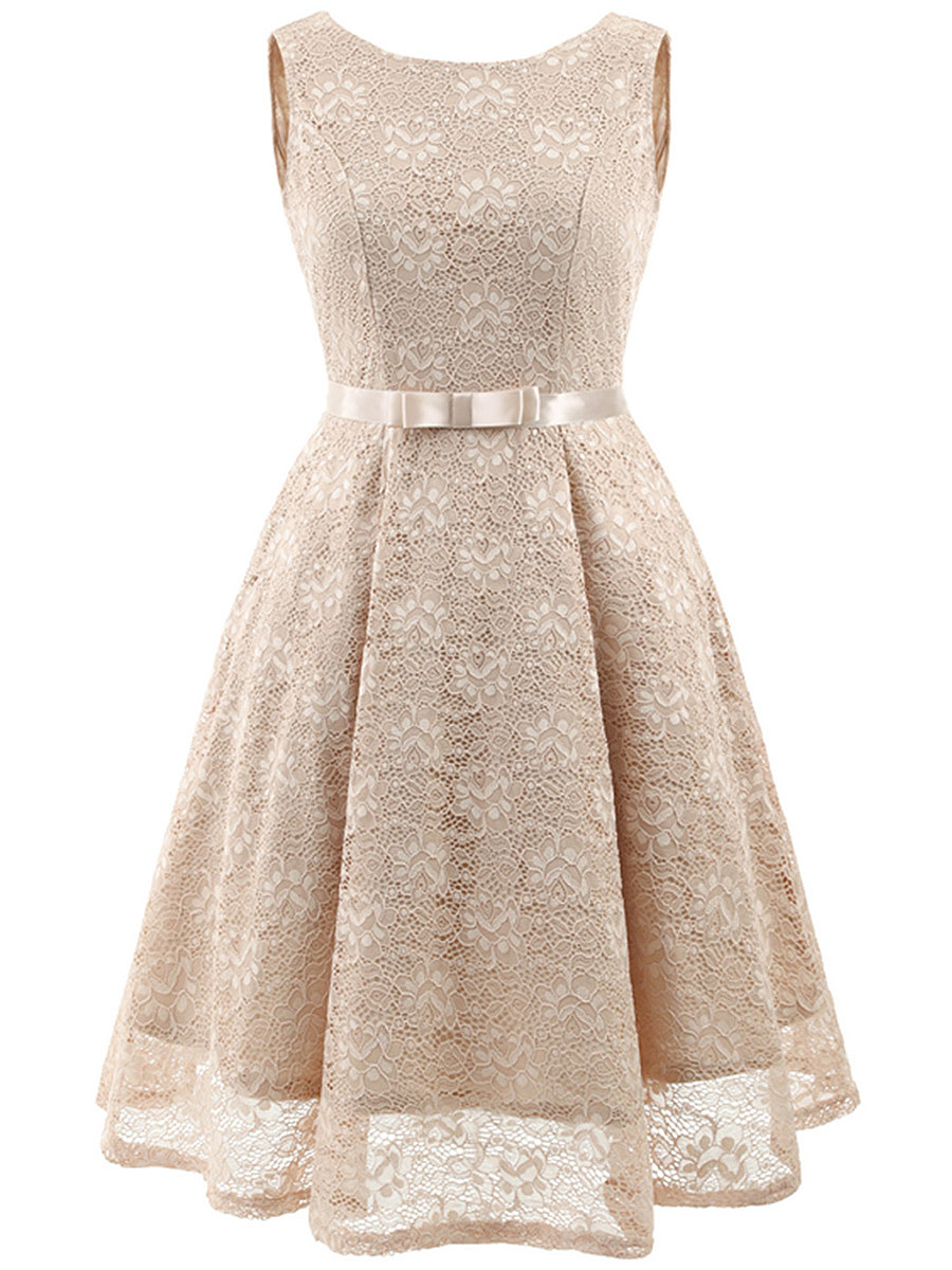 Round Neck Lace Plain Belt Skater Dress