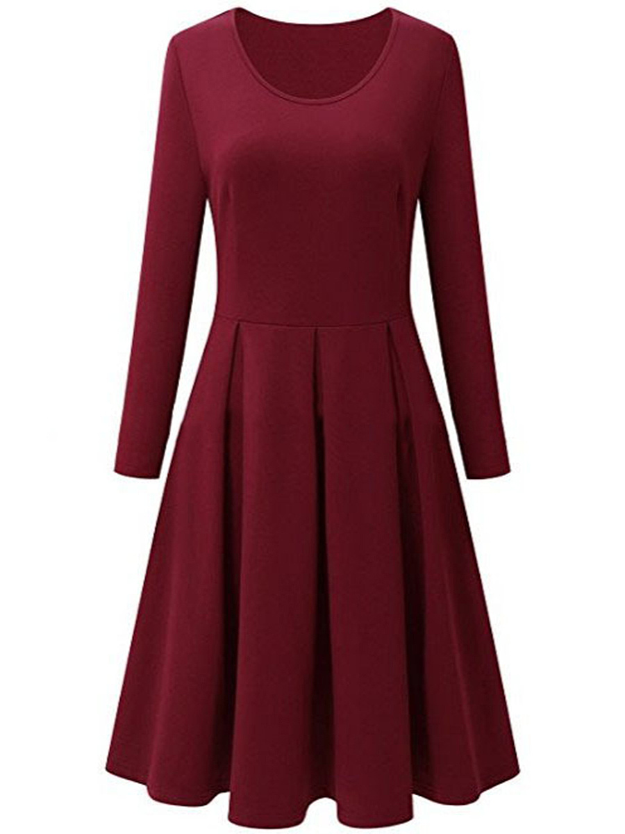 Basic Round Neck Plain Skater Dress