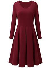 Basic-Round-Neck-Plain-Skater-Dress