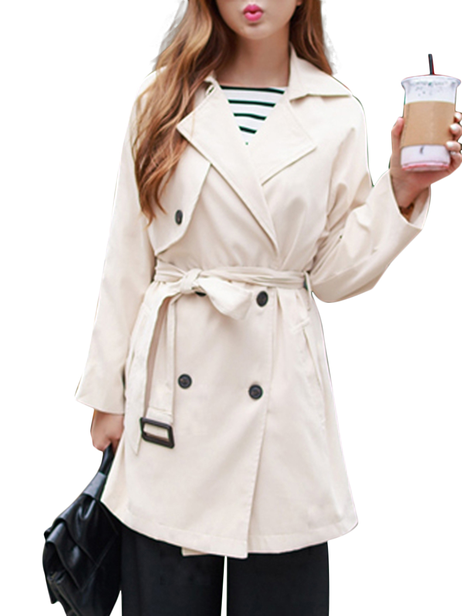 double breasted plain basic autumn spring casual Double Breasted  Belt  Plain  Raglan Sleeve  Long Sleeve Trench Coats