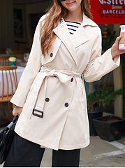 Double Breasted  Belt  Plain  Raglan Sleeve  Long Sleeve Trench Coats