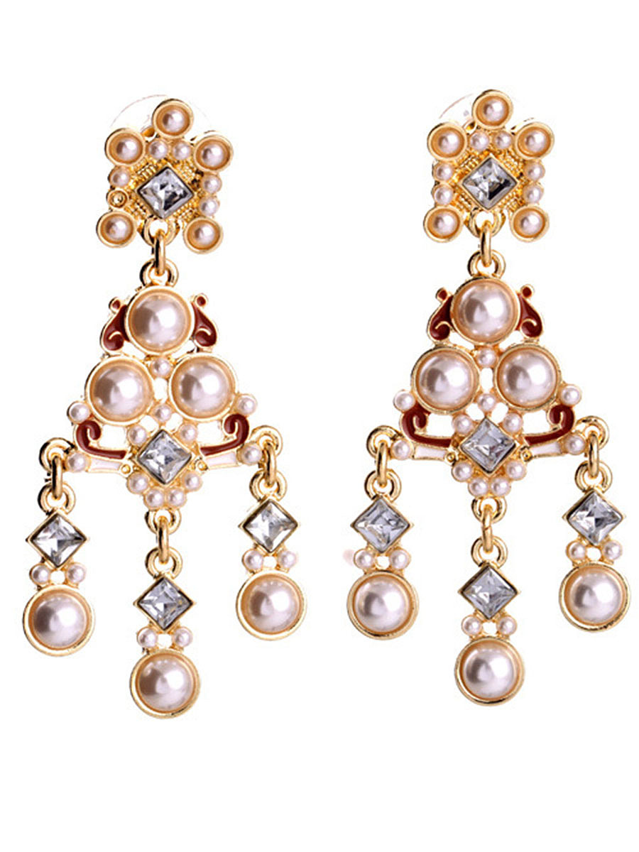 Statement Faux Pearl Drop Earrings