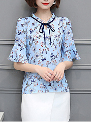 Spring Summer  Cotton Polyester  Women  Round Neck  Floral Printed  Bell Sleeve  Half Sleeve Blouses