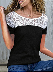 Polyester  Round Neck  Patchwork  Colouring Lace  Short Sleeve Short Sleeve T-Shirts