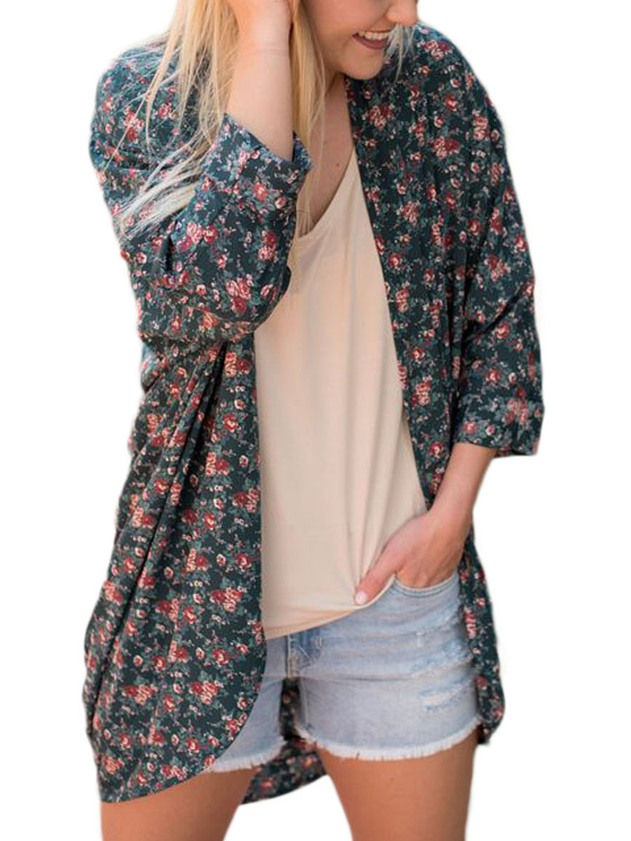 Longline Collarless Tiny Floral Printed Cardigan