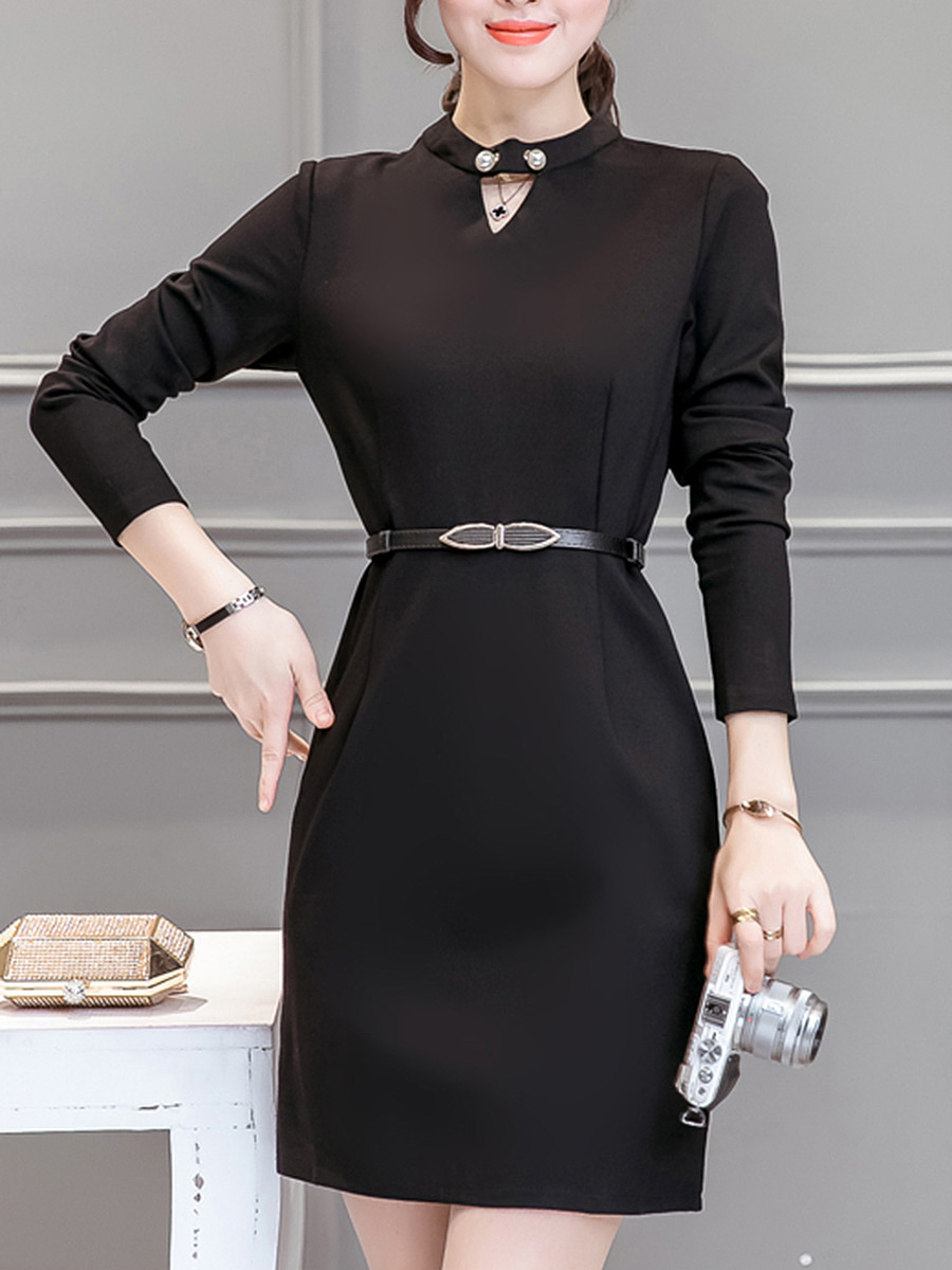 Band Collar Keyhole Plain Belt Bodycon Dress
