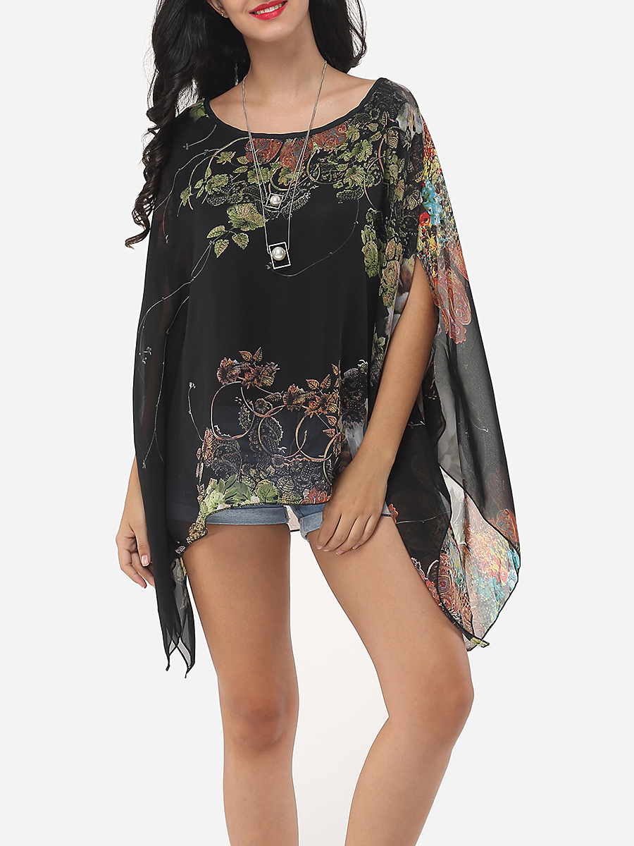 Image For Batwing Dacron Floral Printed Kimono