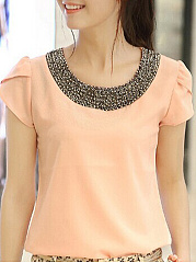 Spring Summer  Chiffon  Women  Round Neck  Beading  Plain  Petal Sleeve Short Sleeve T-Shirts