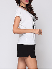 Letter Printed Batwing Awesome Round Neck Short-sleeve-t-shirt