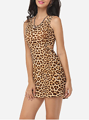 Leopard Cut-out Sexy Round Neck Shift-dress