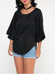 Plain Batwing Awesome Crew Neck Blouse