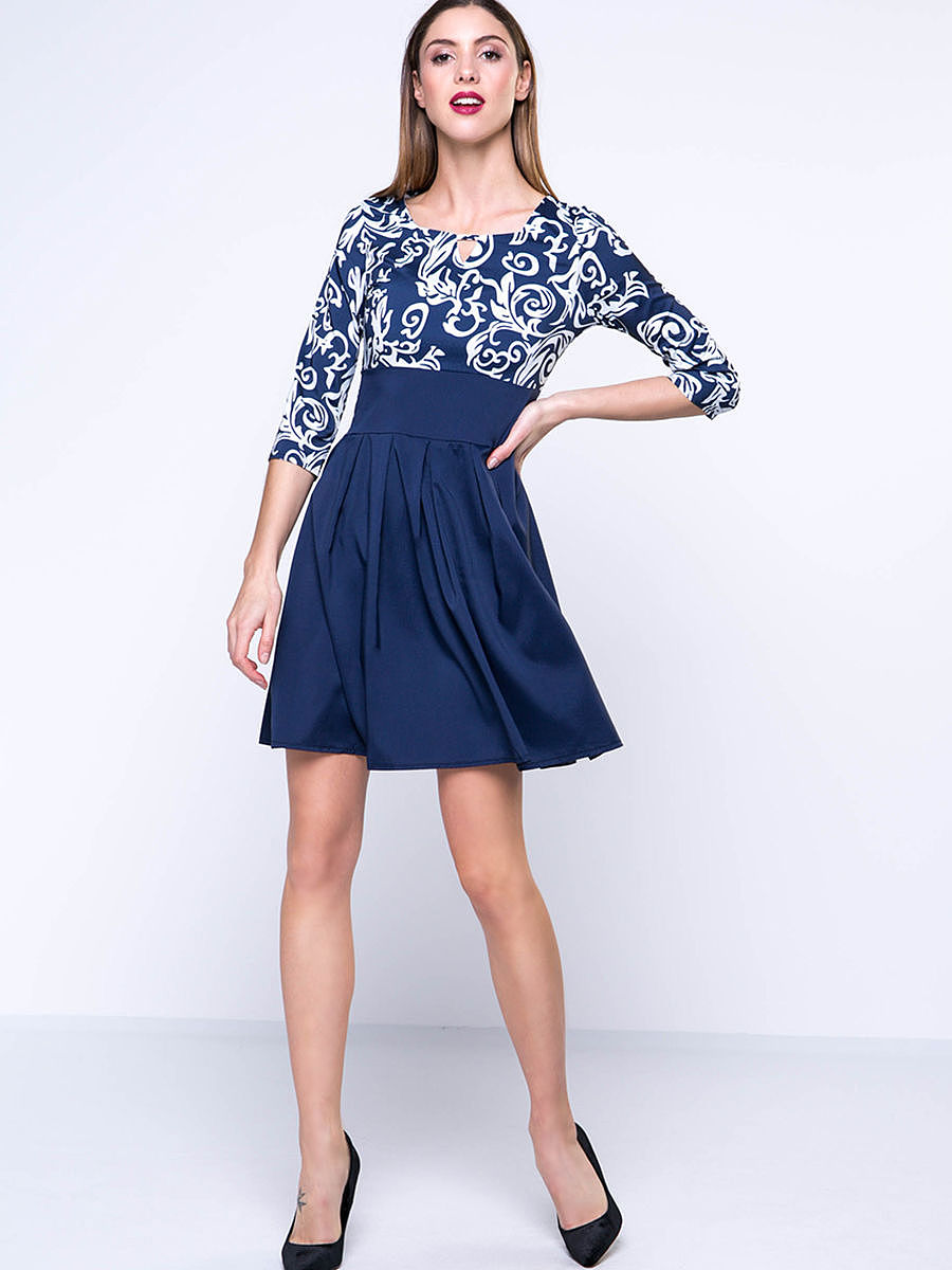 Keyhole Trendy Paisley Square Neck  Skater Dress