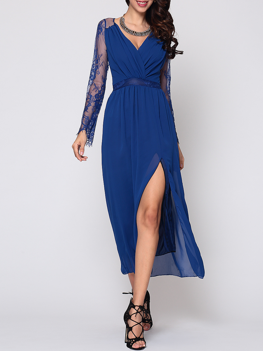 Hollow Out Lace Patchwork Plain Side Slit Elegant V Neck Maxi-dress