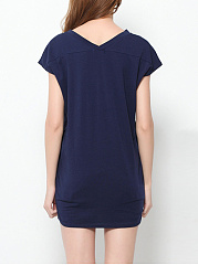 Plain Chic V Neck Casual-t-shirt