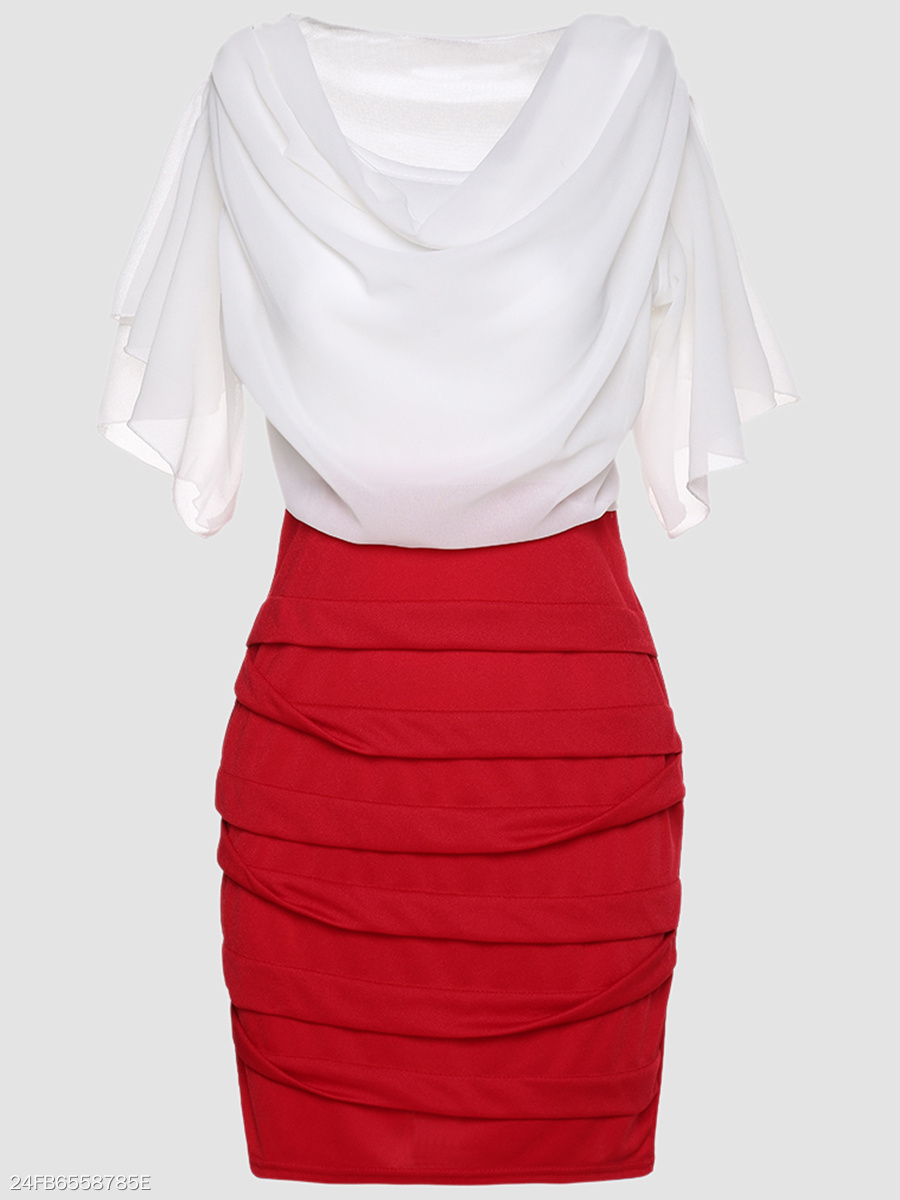 Cowl Neck  Color Block Bodycon Dresses