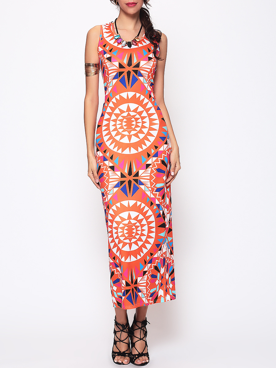 Tribal Geometric Printed Round Neck Maxi Dress