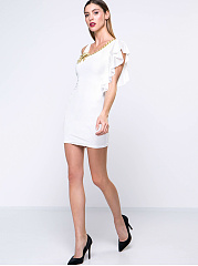 Plain Asymmetric Bodycon Dress With A Decorative Flower