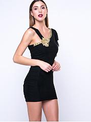 Plain-Asymmetric-Bodycon-Dress-With-A-Decorative-Flower