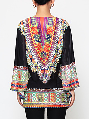 Assorted Colors Tribal Printed Batwing Mandarin Sleeve V Neck Blouse