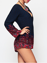 Bohemian Paisley Bowknot Captivating Deep V Neck Rompers