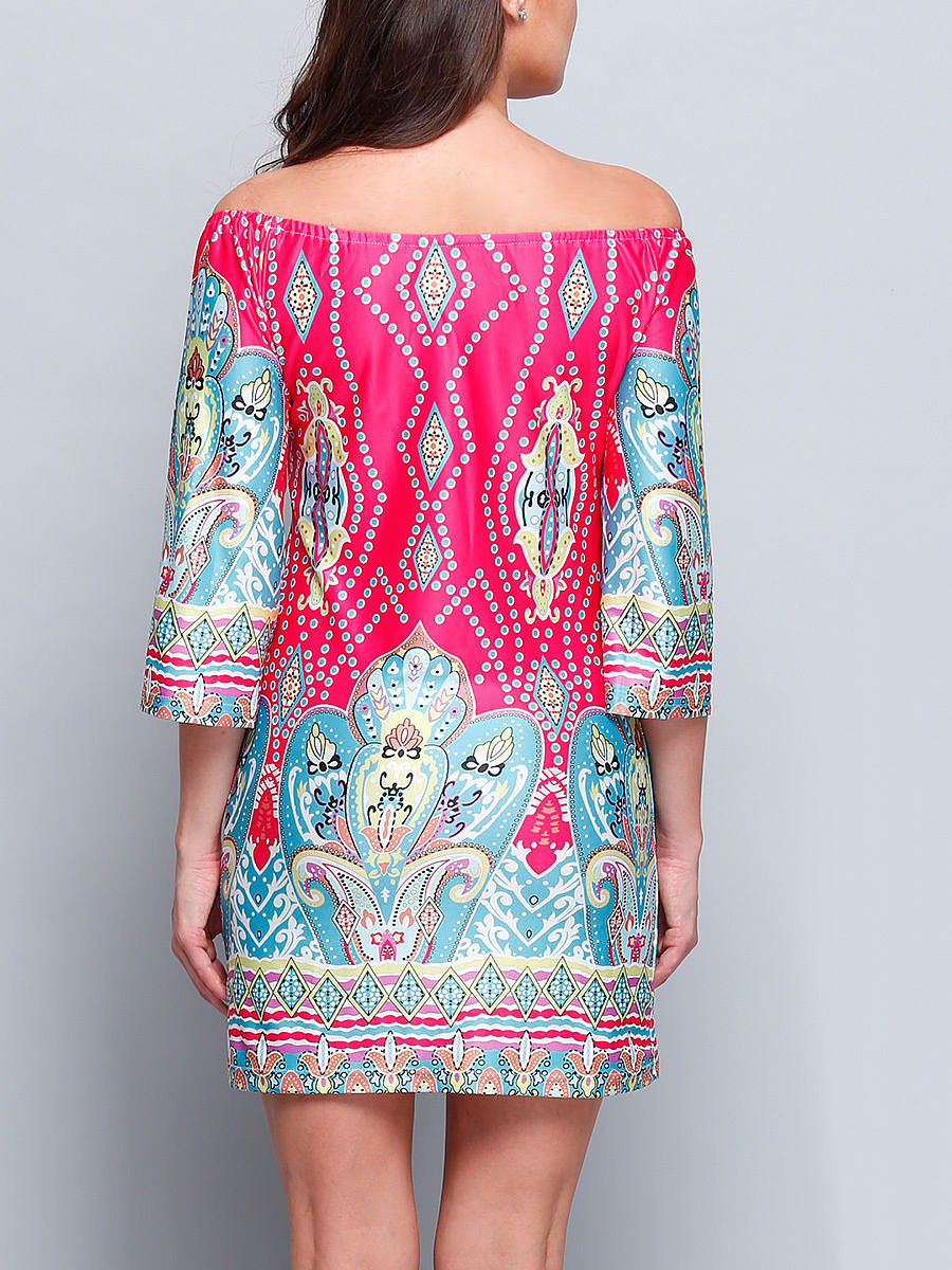 Bohemian Printed Colorful Off Shoulder Shift Dress