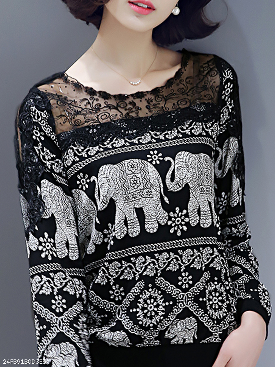 Autumn Spring  Lace  Women  Round Neck  Decorative Lace See-Through  Animal Printed  Long Sleeve Blouses