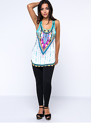 Summer  Polyester  Women  Scoop Neck  Racerback  Tribal Printed Sleeveless T-Shirts