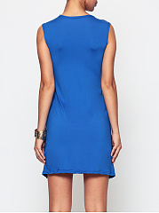 Plain Ruffled Delightful V Neck Skater-dress