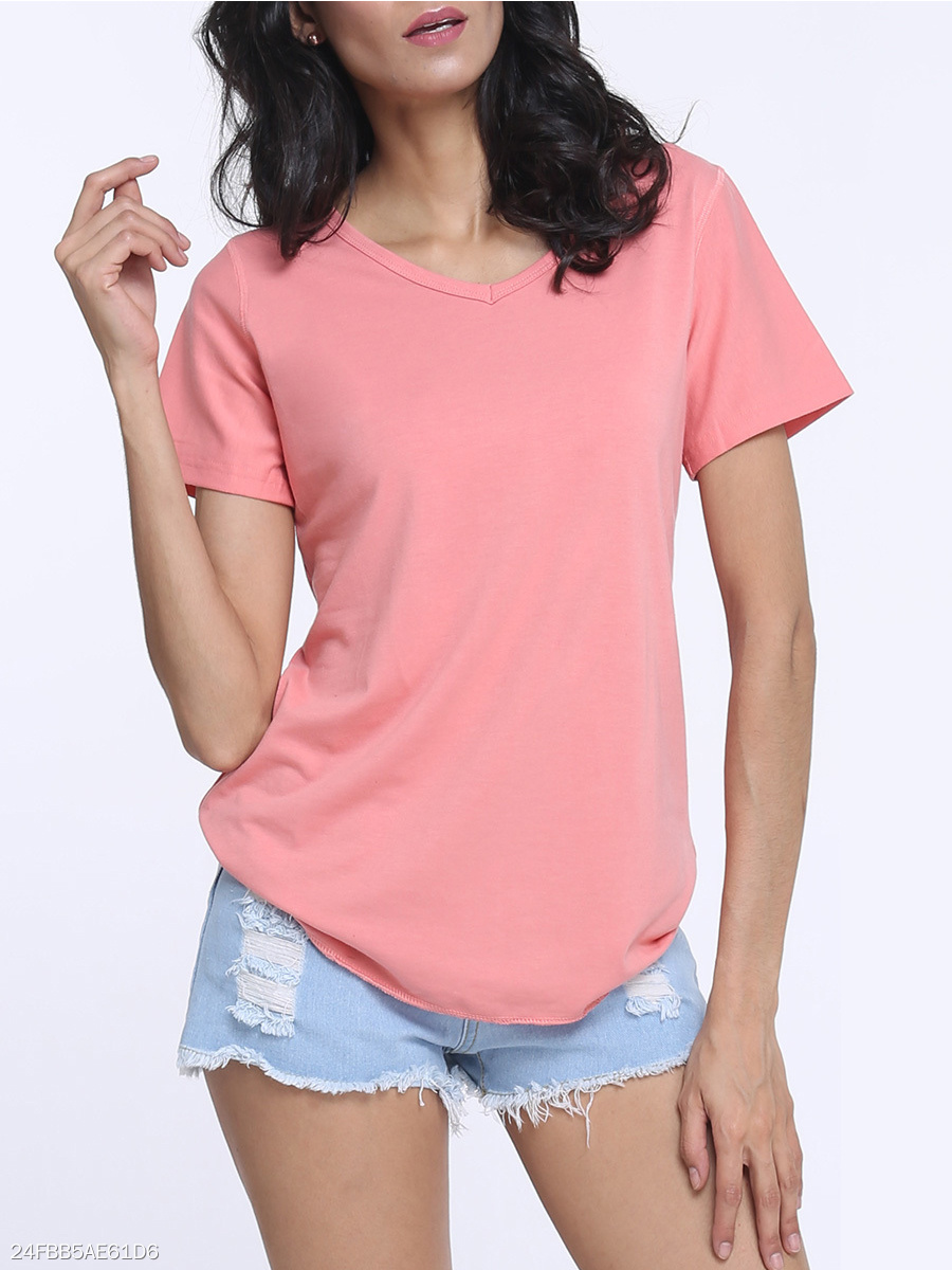 Plain V Neck Short Sleeve T-shirt