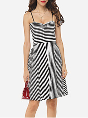 Striped Lovely Spaghetti Strap Skater-dress