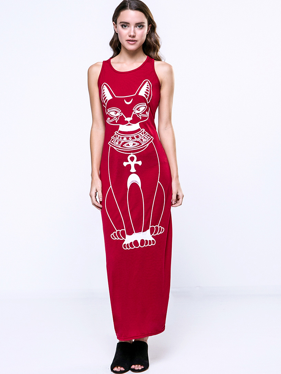 Cat Printed Trendy Round Neck Maxi-Dre