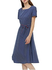Summer Vintage Polka Dot Bowknot Skater Dress