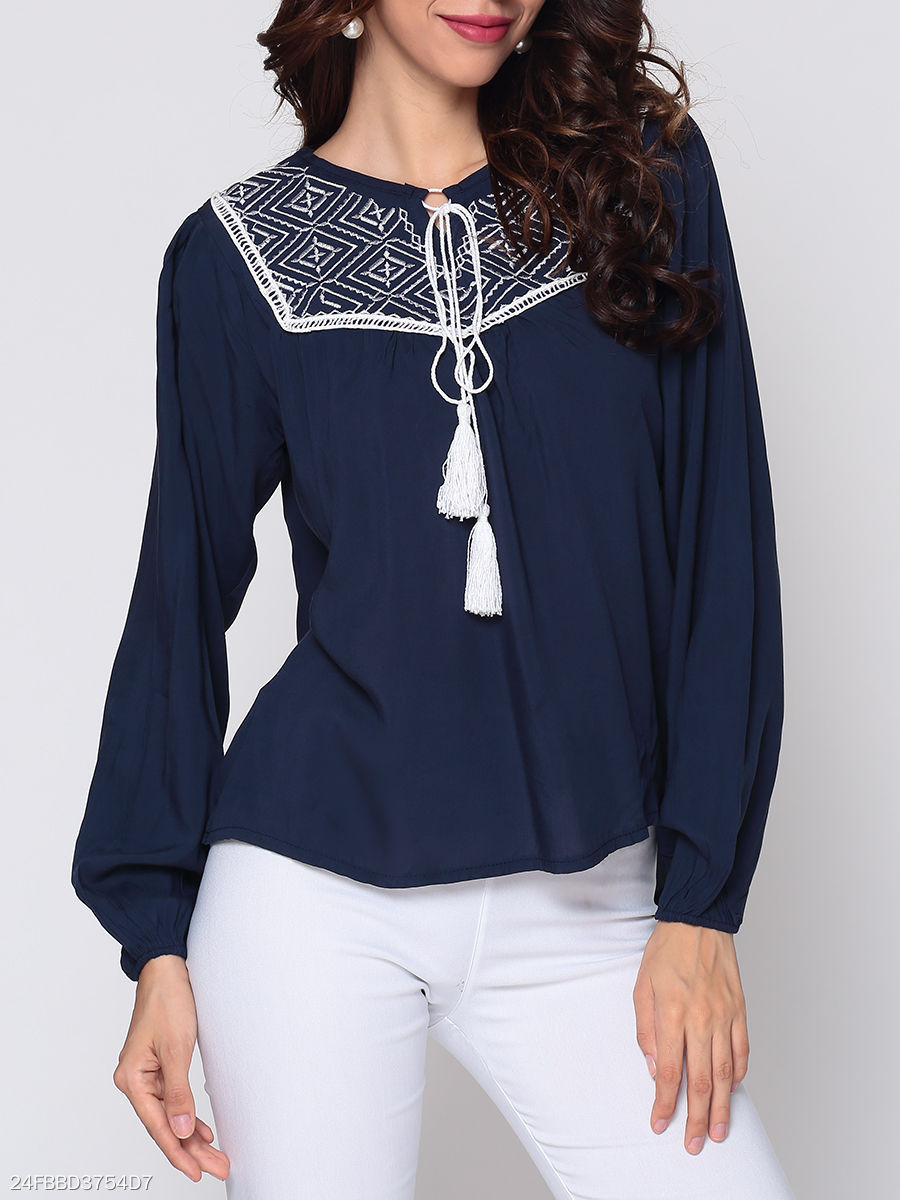 Autumn Spring  Polyester  Women  Tie Collar  Tassel  Plain  Long Sleeve Blouses